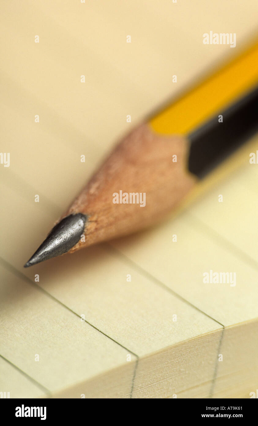 Pencil on pad - Stock Image