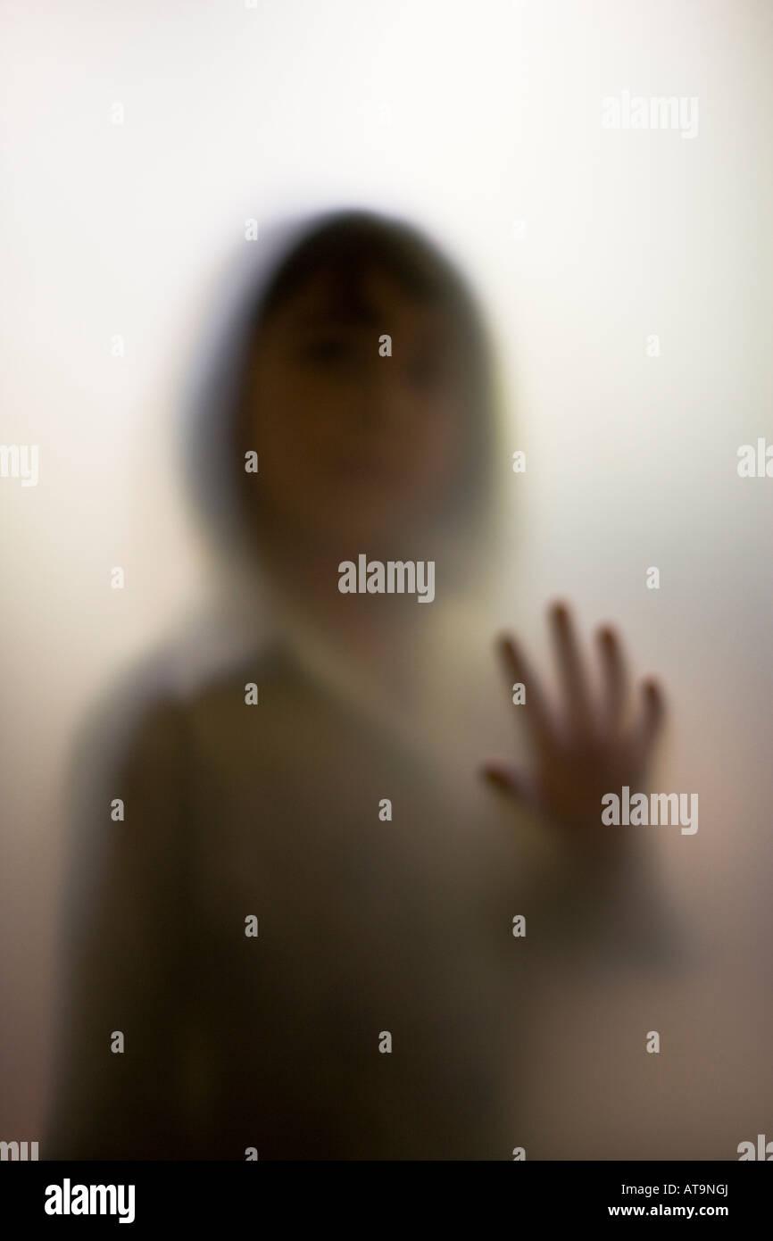 Shadow figure of a little girl - Stock Image