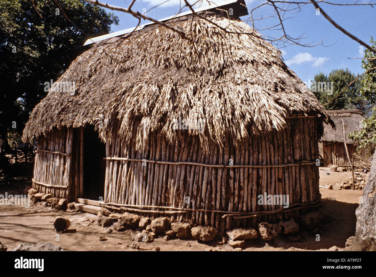 Mayan Thatched Hut In A Rural Part Of Yucatan Mexico Stock