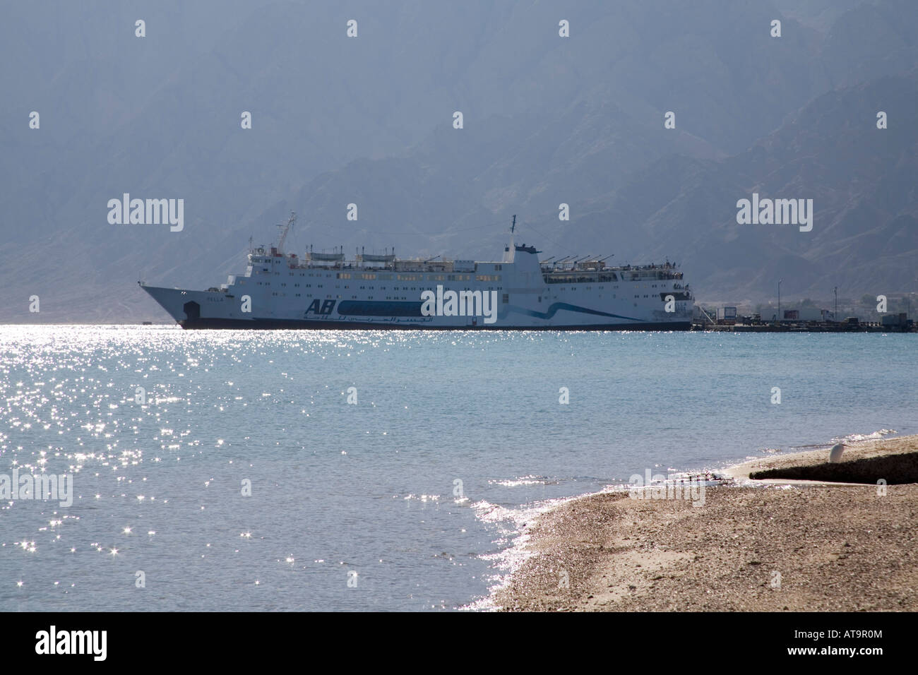 Nuweiba Sinai Egypt North Africa February A large cargo and passenger ship in the busy port of Nuweiba Muzeina - Stock Image