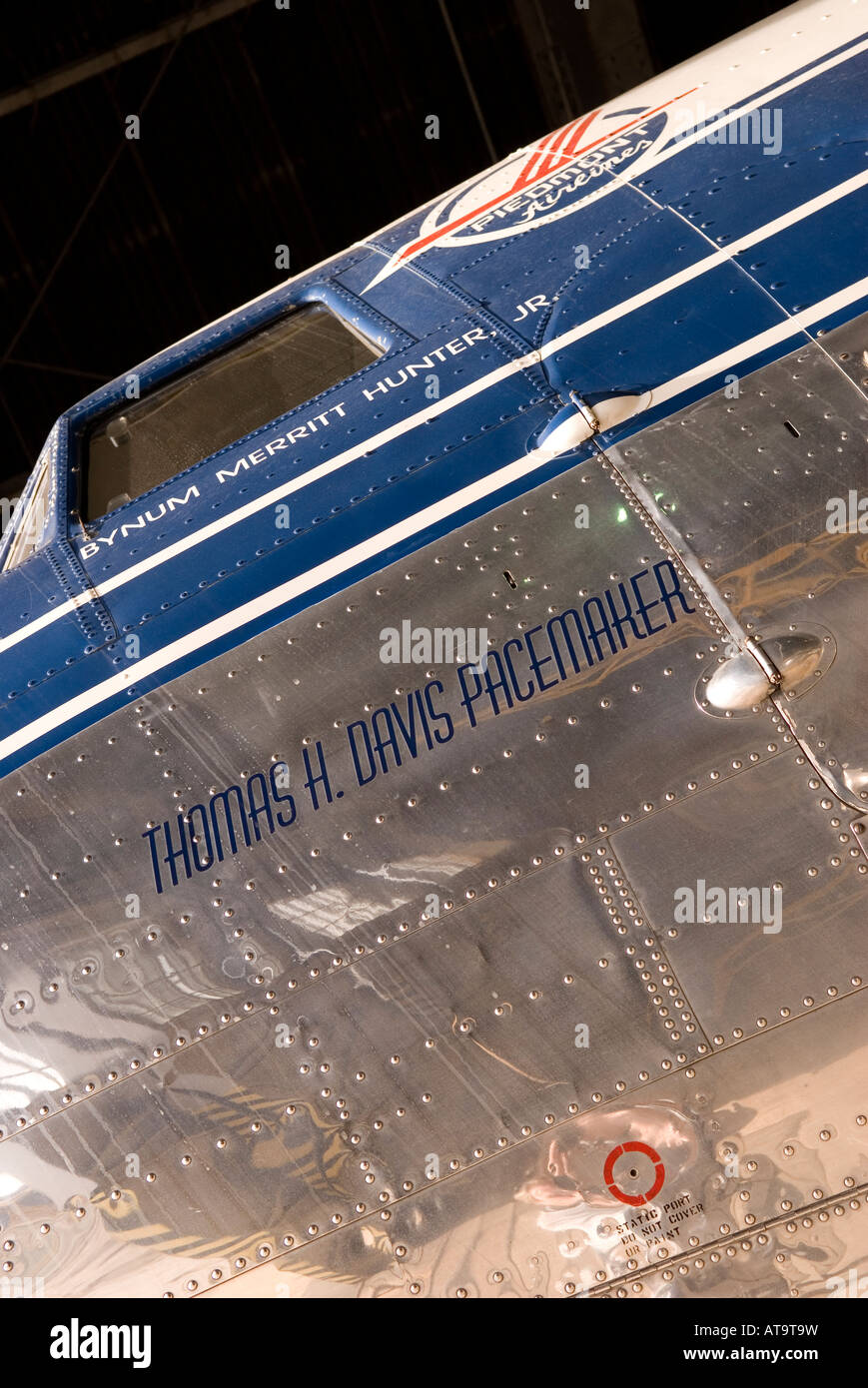 DC-3 Piedmont Airlines Aircraft Parked in Hanger at Carolinas Aviation Museum in Charlotte NC USA - Stock Image