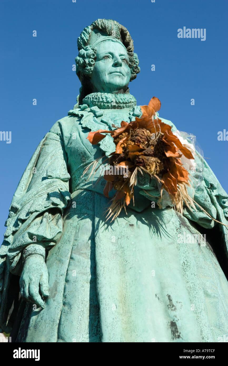 Copenhagen Denmark Statue of Queen Caroline Amalie 1796 1881 at Rosenborg Castle Gardens by sculptor Vilhelm Bissen 1836 1913 - Stock Image
