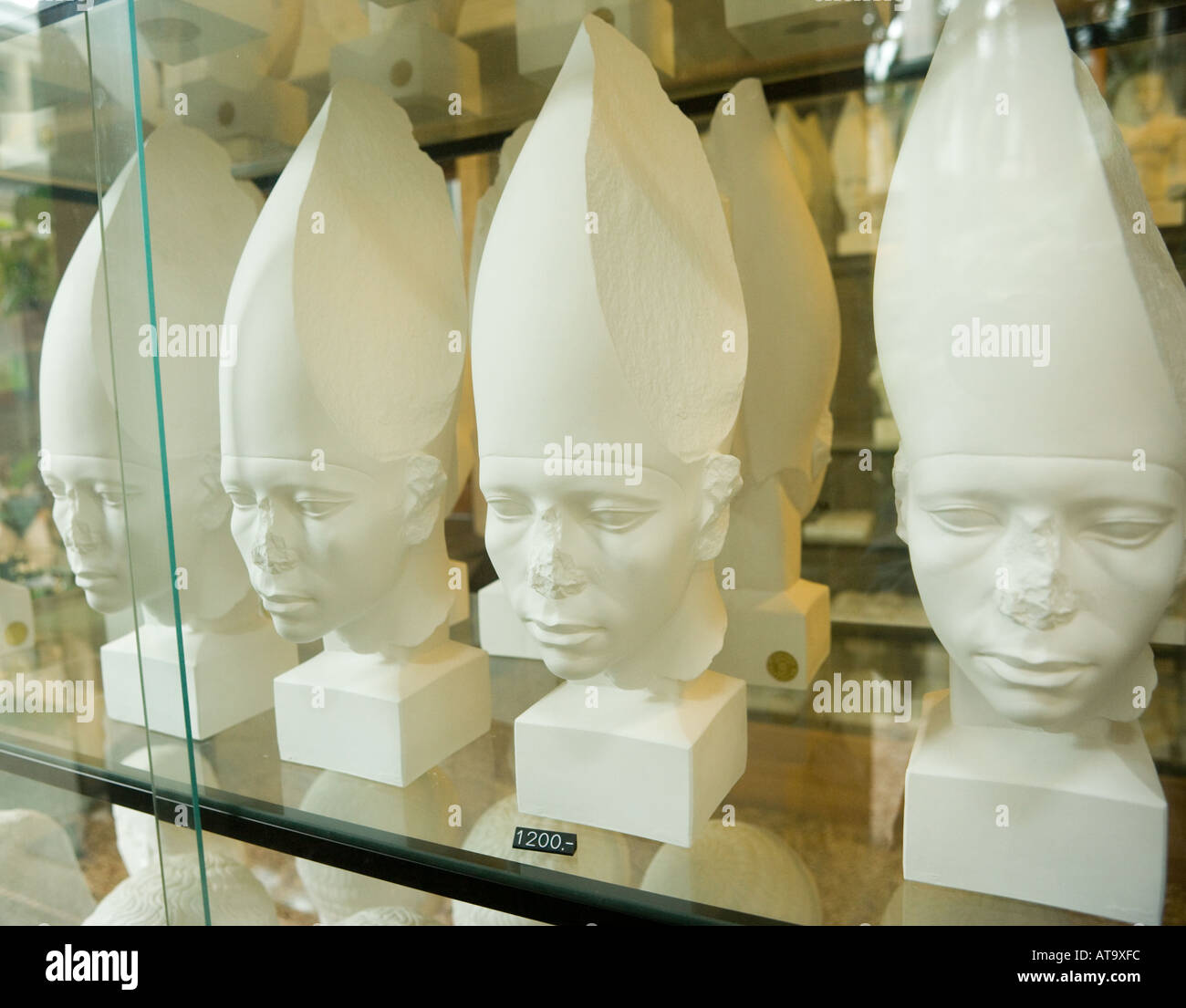 Copenhagen Denmark Ny Carlsberg Glyptotek Souvenir sculpted heads for sale in museum shop - Stock Image