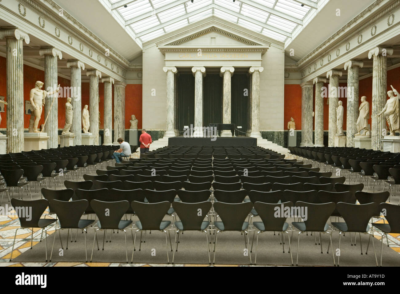 Copenhagen Denmark Ny Carlsberg Glyptotek The Concert Hall lined with Roman statuary - Stock Image