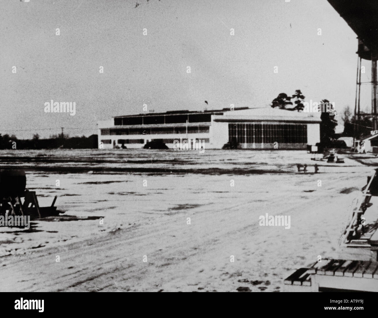 Old Antique Photograph of Original Morris Field Predecessor to Charlotte-Douglas International Airport Displayed - Stock Image