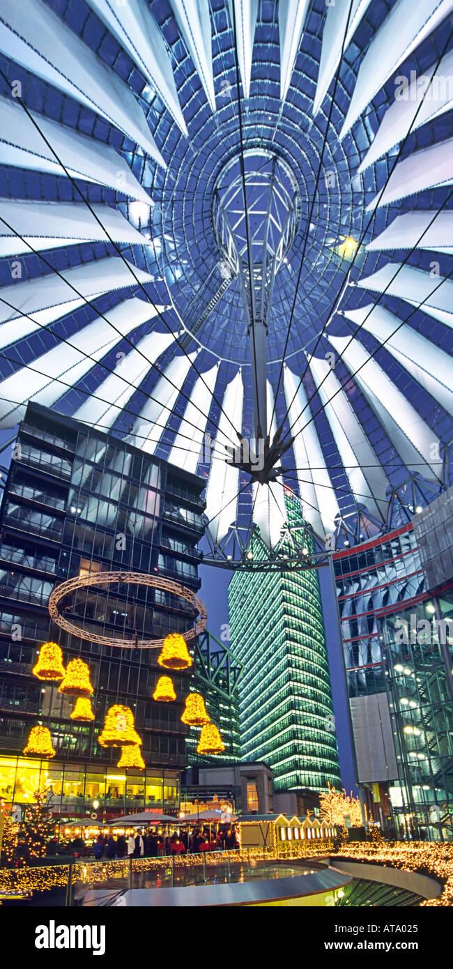 Berlin Potsdamer Platz Sony Center Atrium christmas decoration - Stock Image