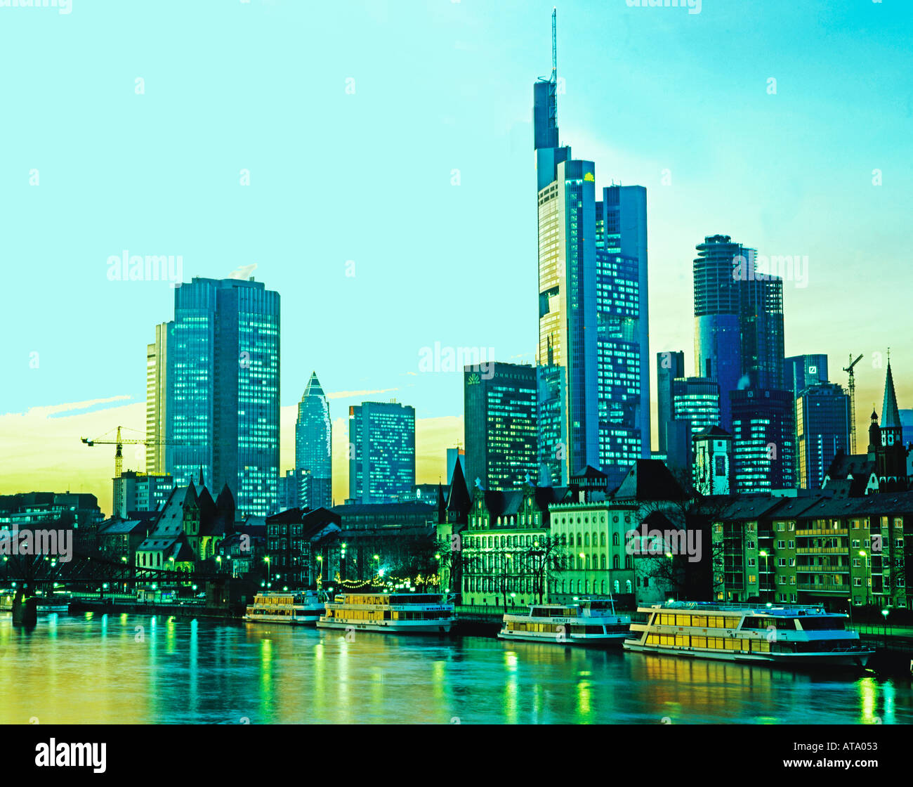 Germany Frankfurt downtown Skyline at sunset banking area commerzbank refelctions on the river main - Stock Image