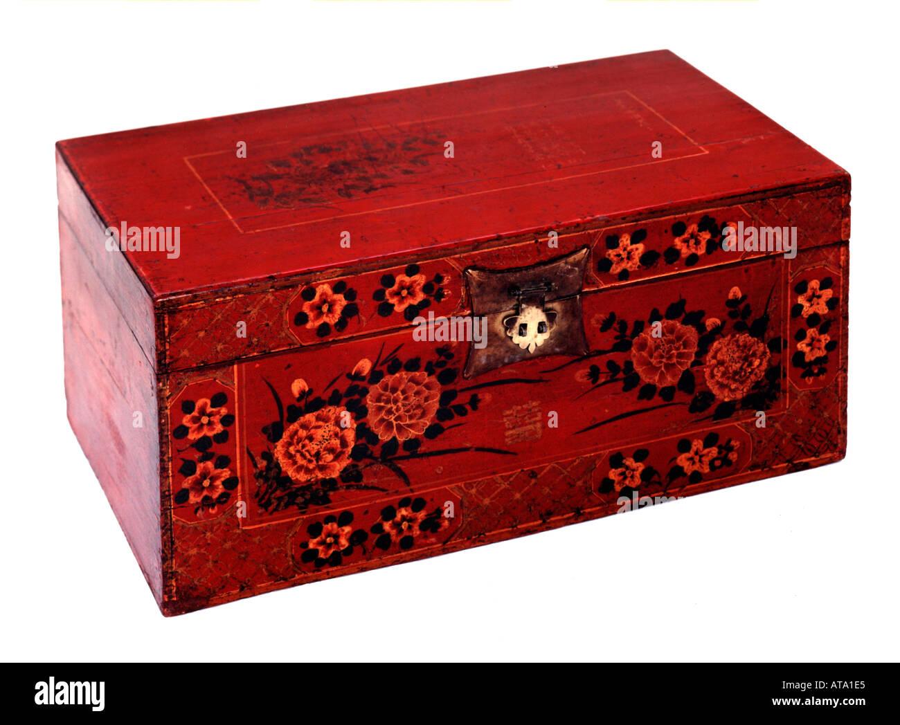 Etonnant Chinese Antique Painted Storage Box