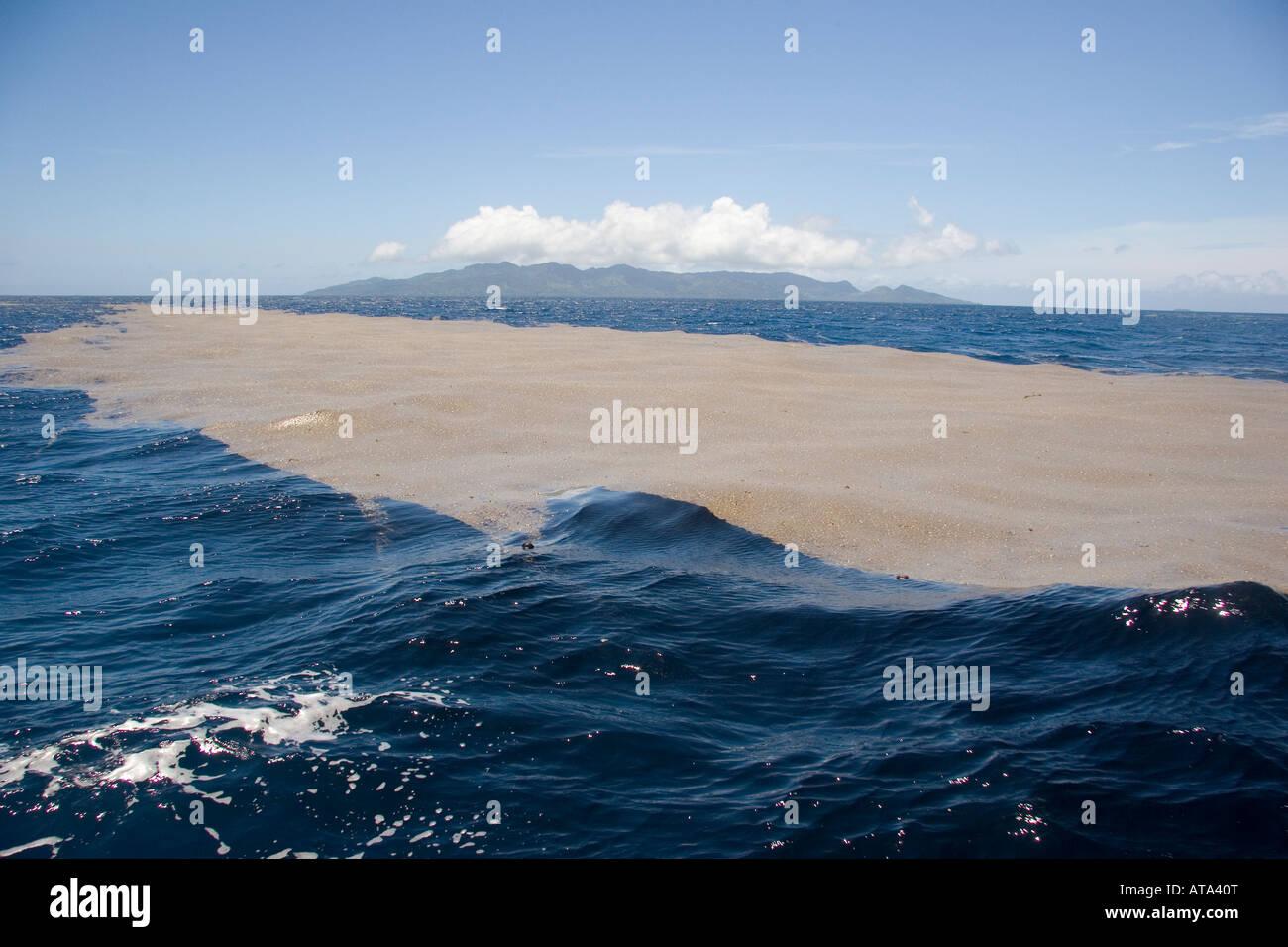 Pumice rafts of lightweight frothy volcanic rock, Bequ Lagoon, Fiji. - Stock Image