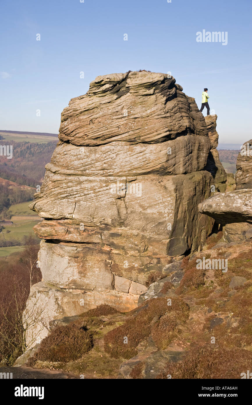 Rock formation on Curbar Edge Derbyshire Peak District - Stock Image