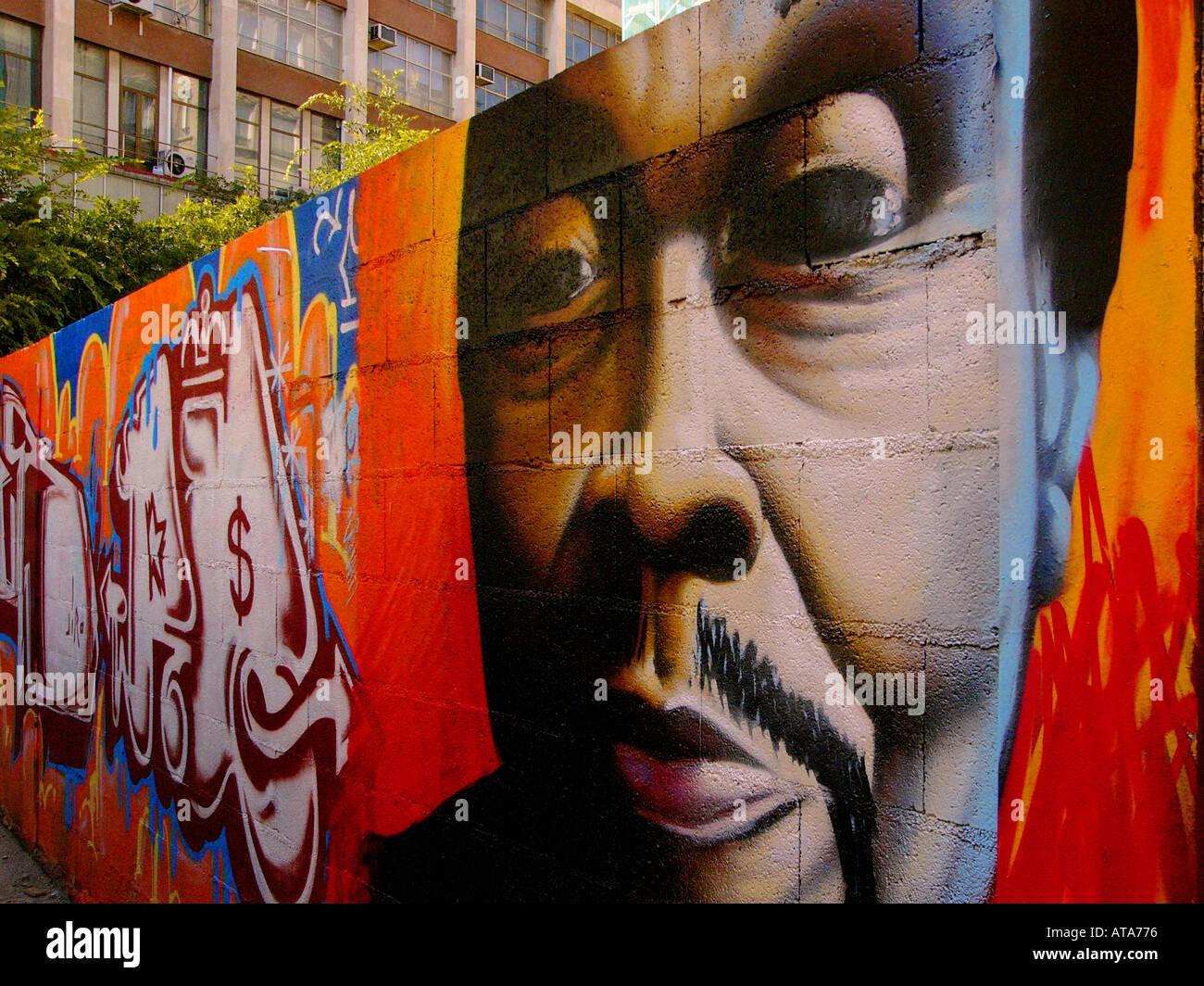 Graffitti Wall Barcelona Spain - Stock Image