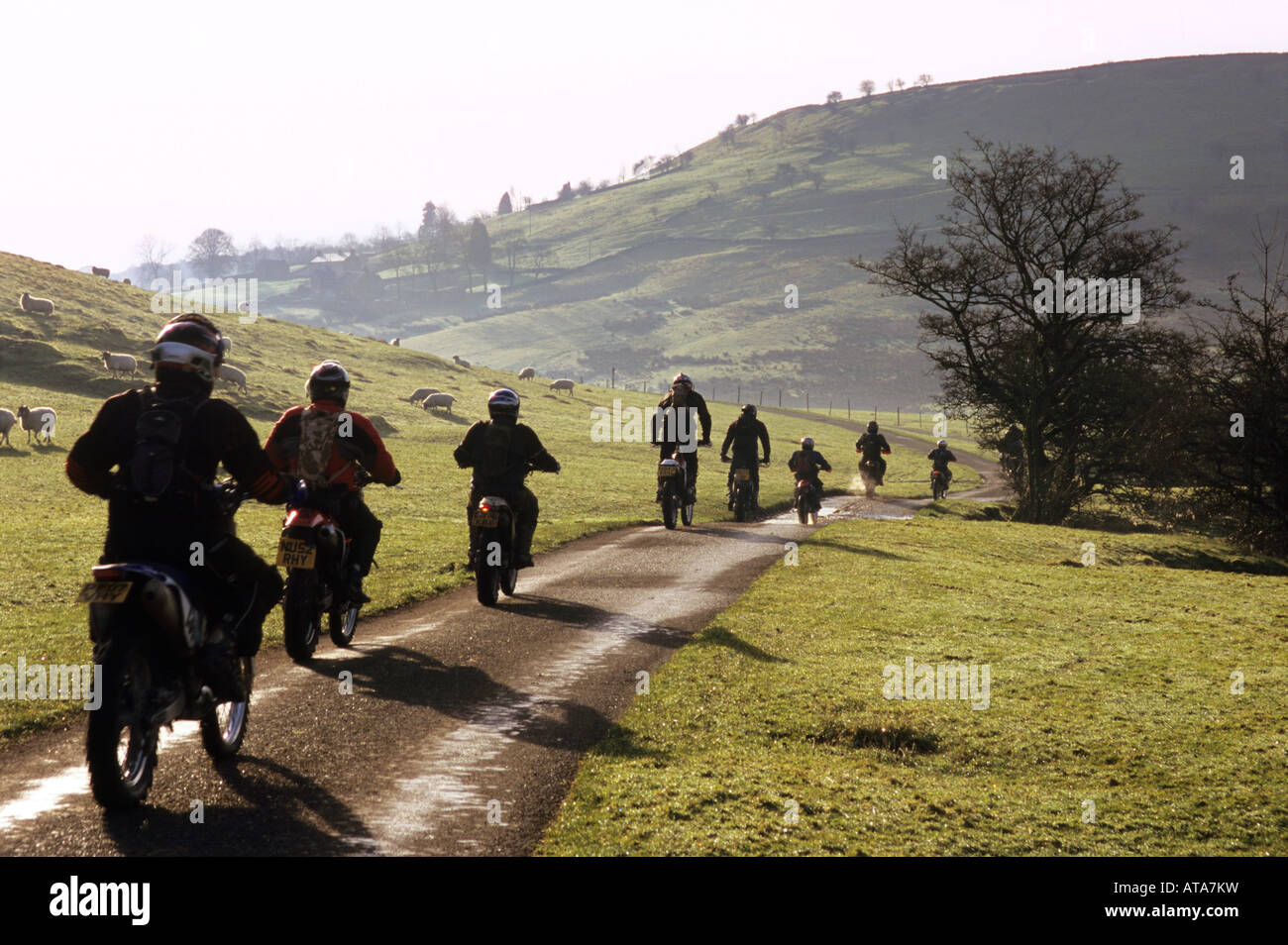 Cross country motorcyclists, near Chrome Hill, Buxton, Peak District National Park, Derbyshire - Stock Image