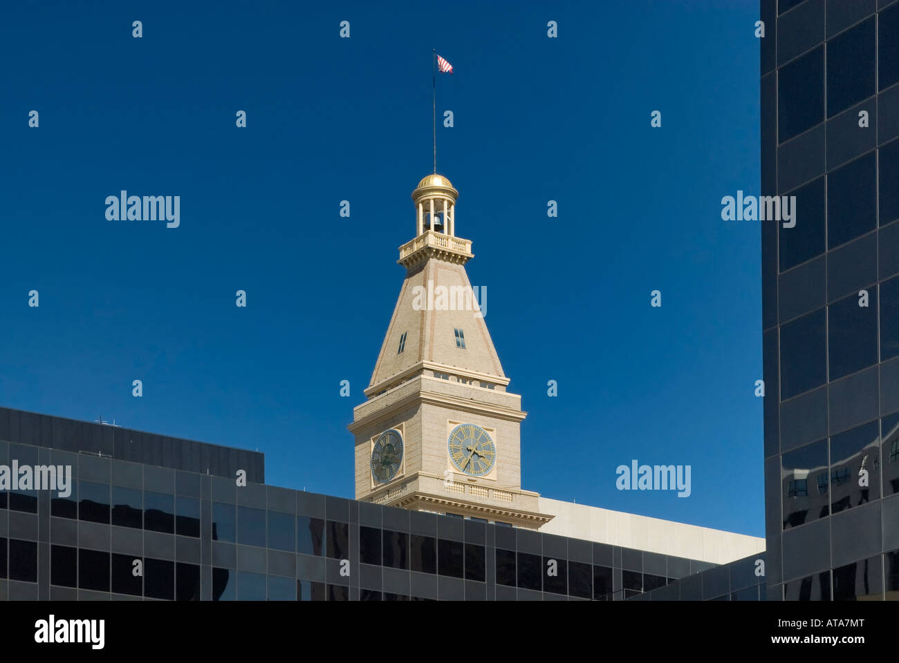 Daniels Fisher Tower at 16th Street Mall, Denver, Colorado, USA - Stock Image