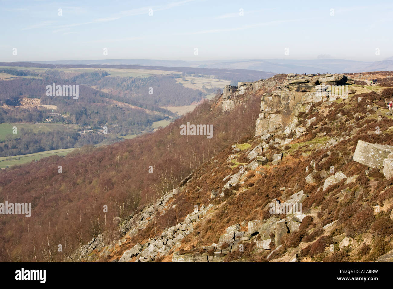 Curbar Edge Derbyshire Peak District - Stock Image