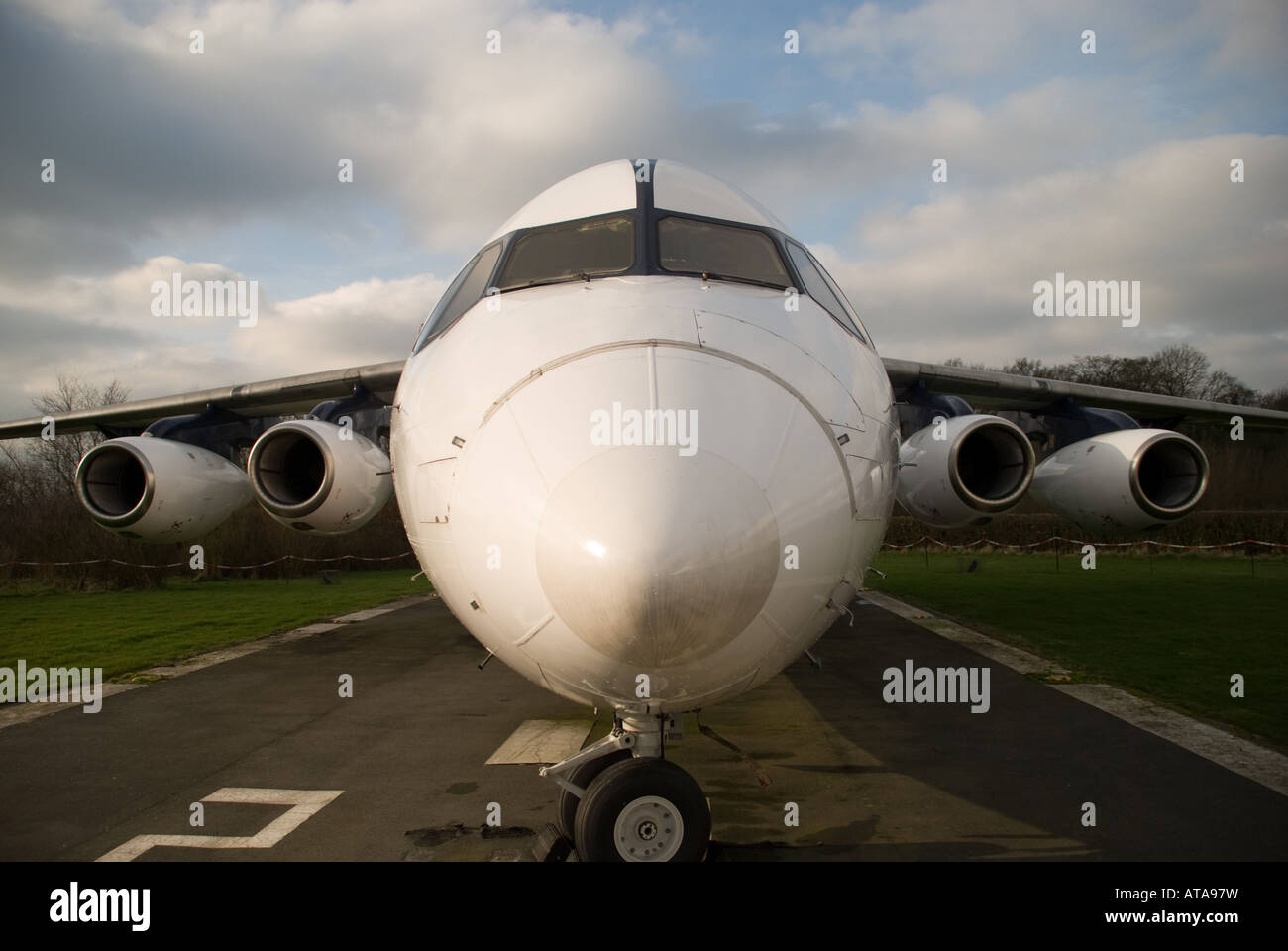 Front view of a BAE146 Avro RJX - Stock Image