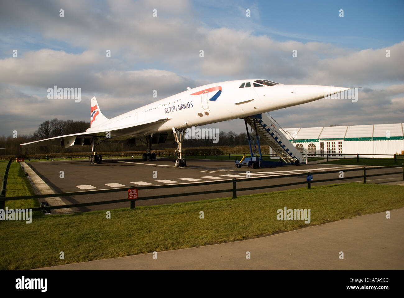 Concorde G-BOAC on display at Manchester Airport viewing area before it was enclosed with a hangar Stock Photo