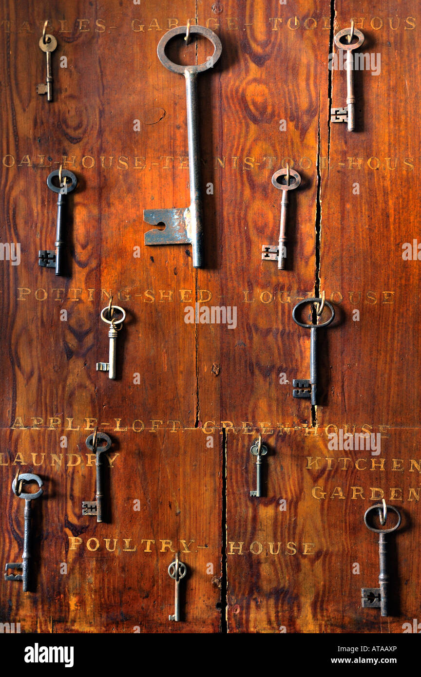 Victorian Key Board with old keys to house and garden buildings - Stock Image