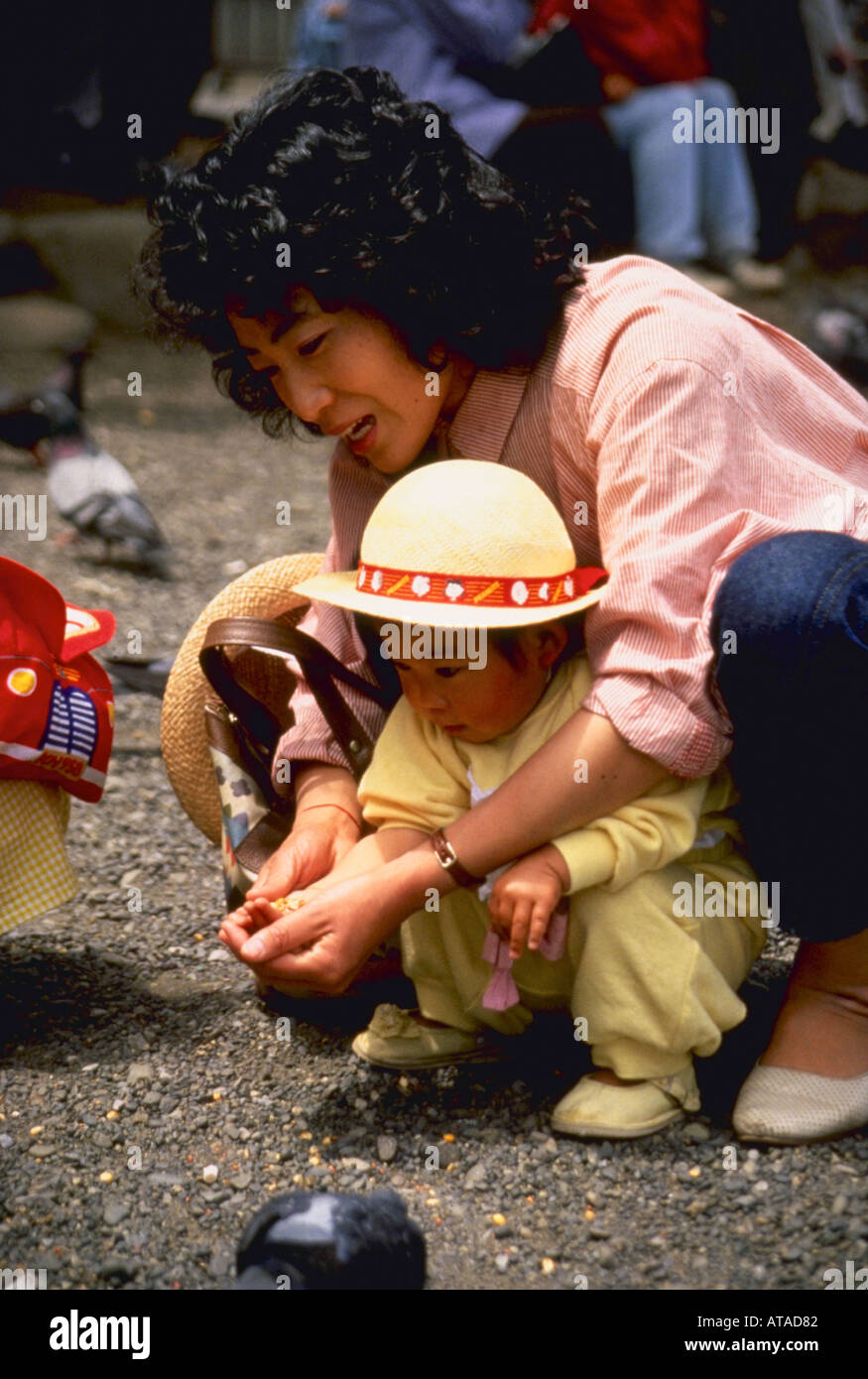 JAPANESE MOTHER AND CHILD FEEDING PIGEONS - Stock Image
