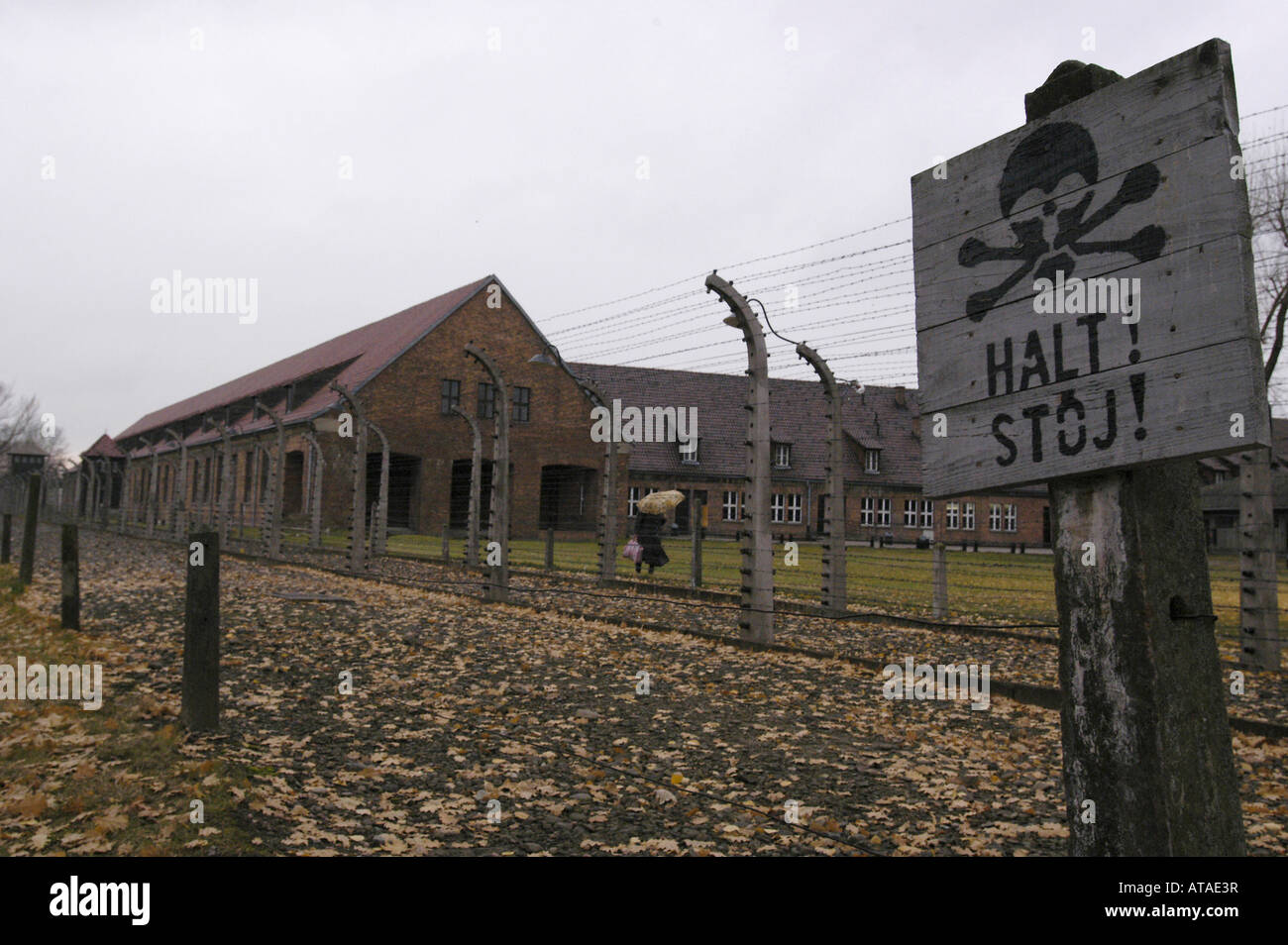 Death zone in the Auschwitz-Birkenau Former Nazi German Concentration Camp - Stock Image