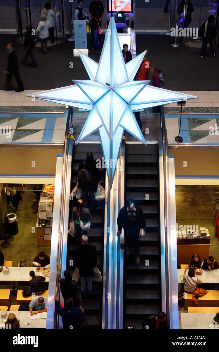 In New York City Christmas decoration inside Time Warner Center on ...