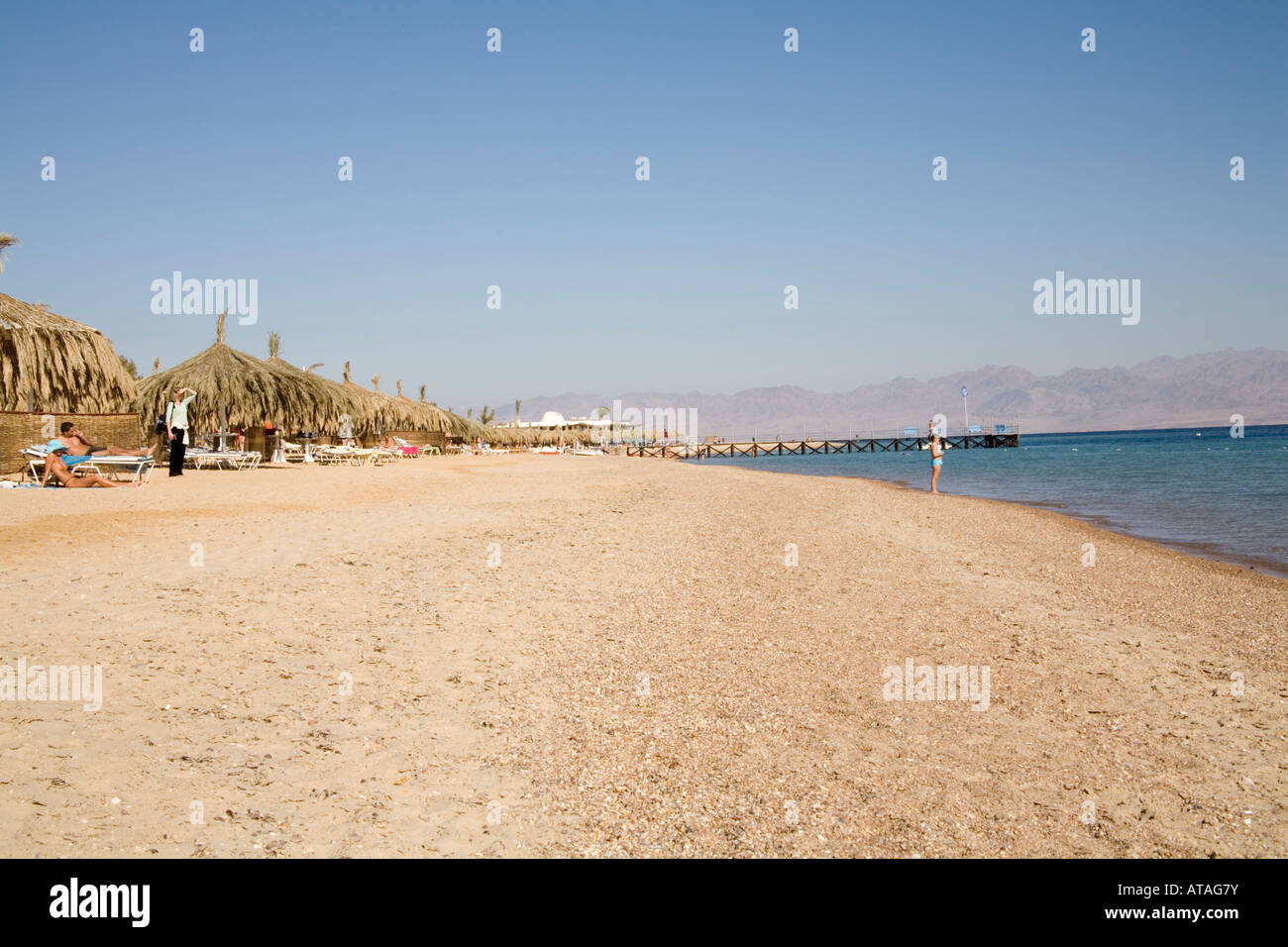 Nuweiba Sinai Egypt North Africa February Looking along the private beach of a luxury hotel on the Gulf of Aqaba - Stock Image