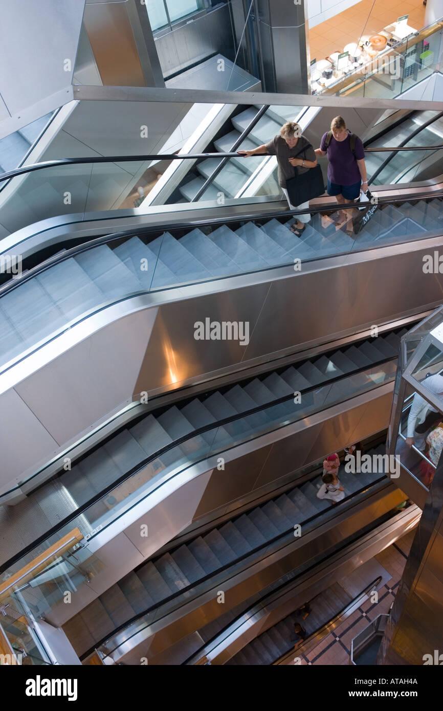 Copenhagen Denmark Escalators in Magasin du Nord department store - Stock Image