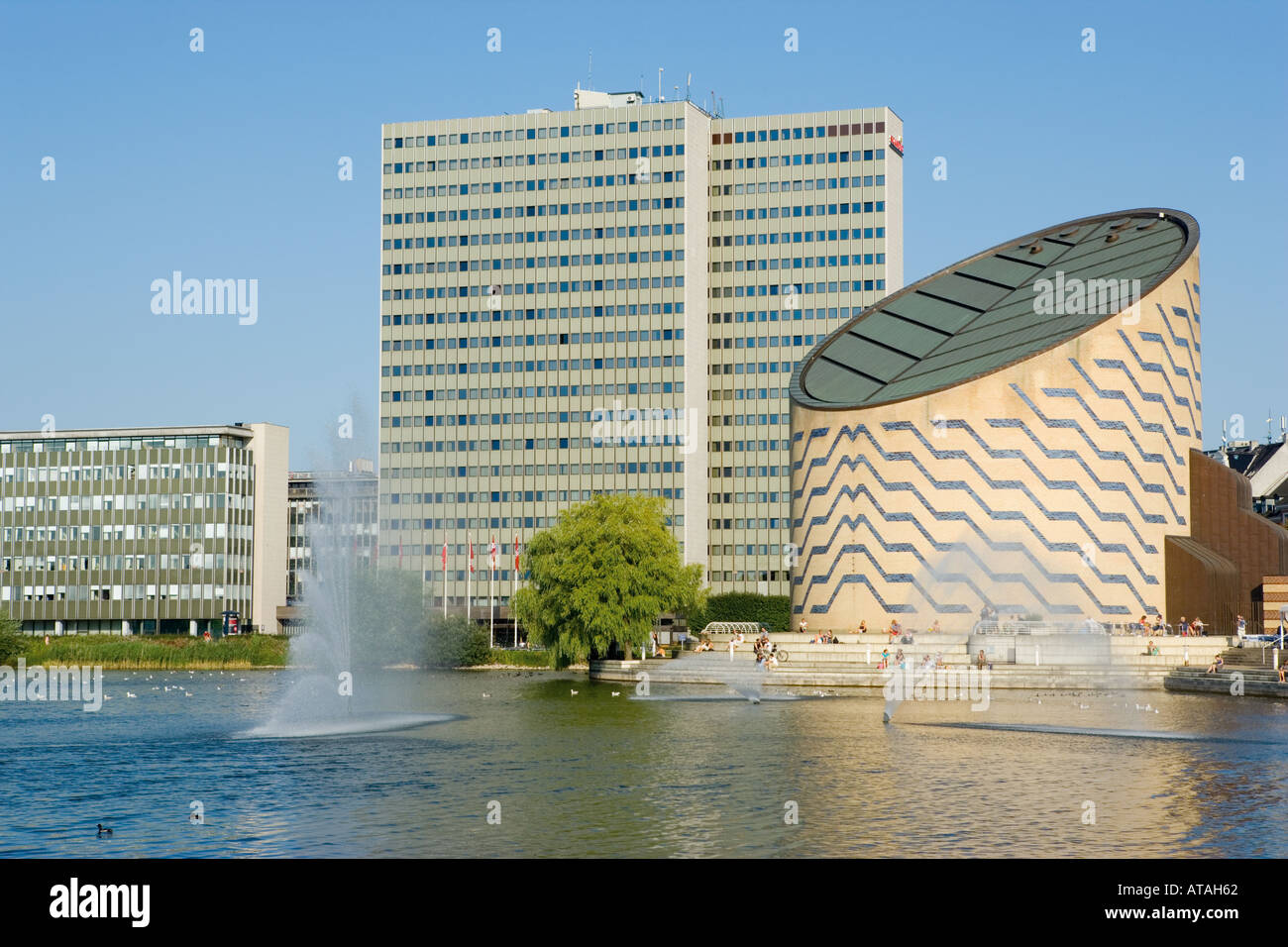 Copenhagen Denmark Scandic Hotel building centre and Tycho Brahe Planetarium right on Sankt Jorgens So - Stock Image