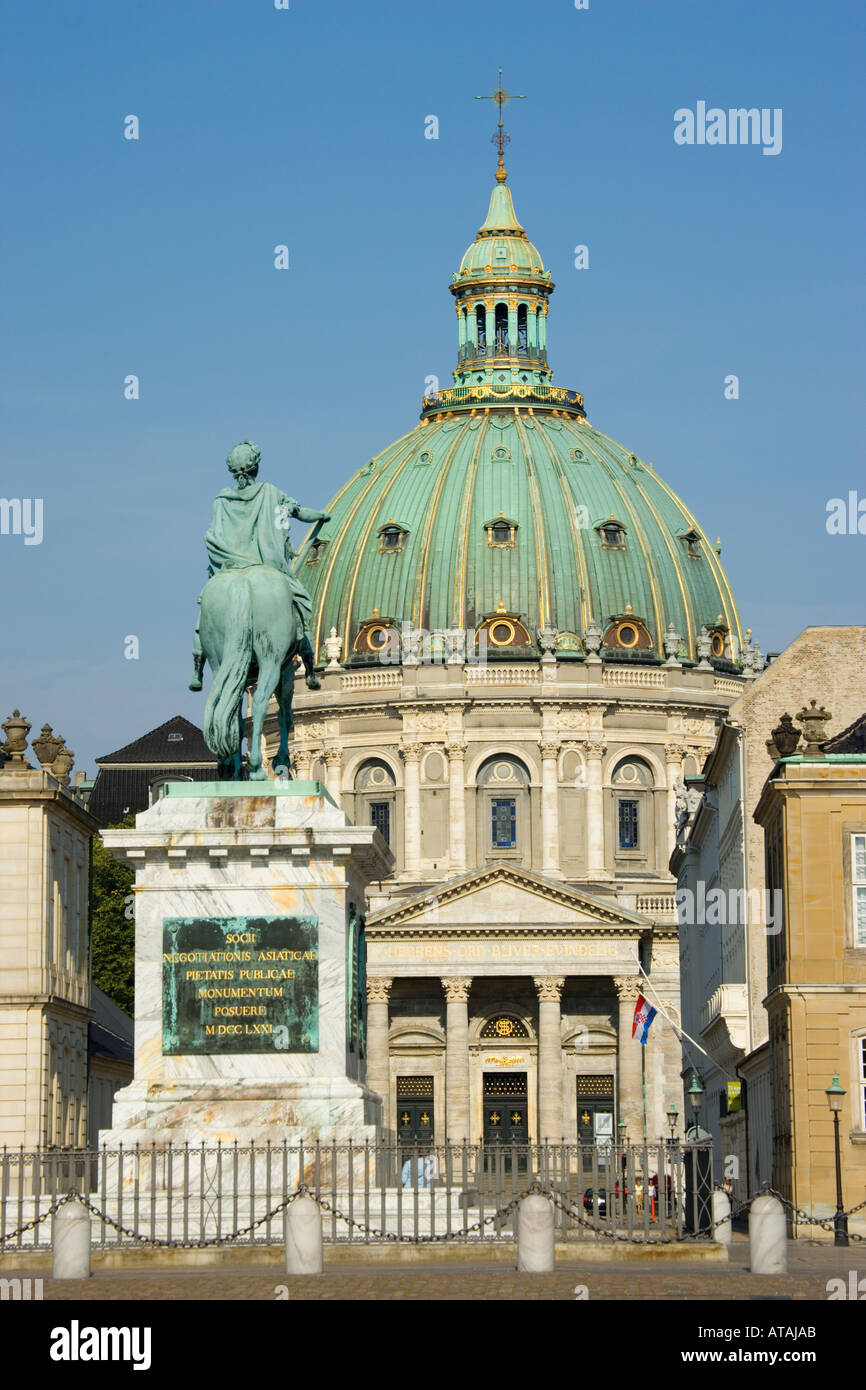 Copenhagen Denmark Equestrain statue of King Frederik V and dome of Marmorkirken Frederikskirken - Stock Image
