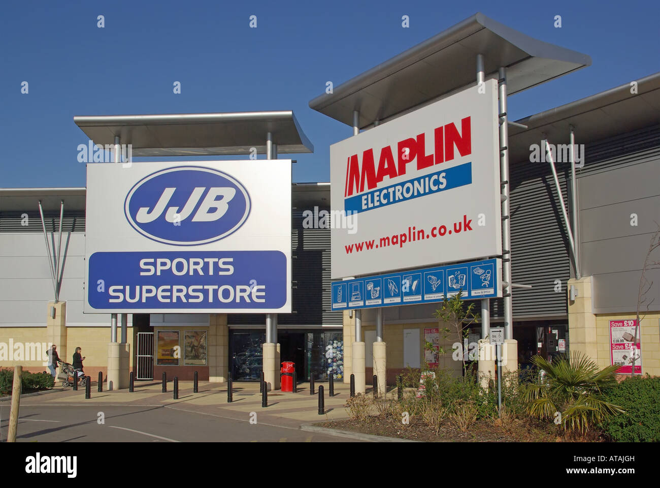 Lakeside out of town retail shopping complex JJB Sports and Maplin Electronic store sign and entrance canopy - Stock Image
