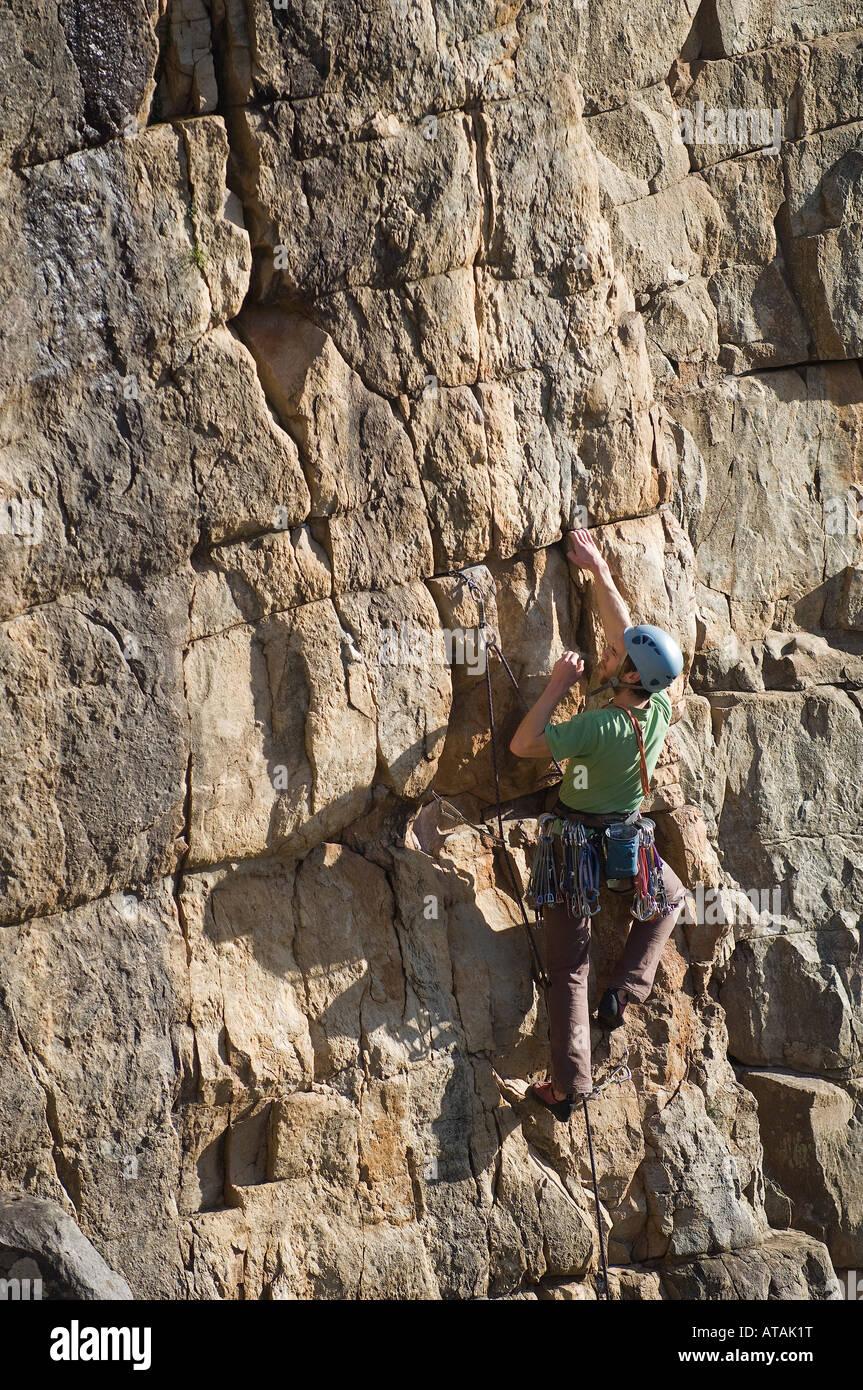 Joe Quarmby climbing Illequipt 18 Morialta Gorge Adelaide South Australia - Stock Image