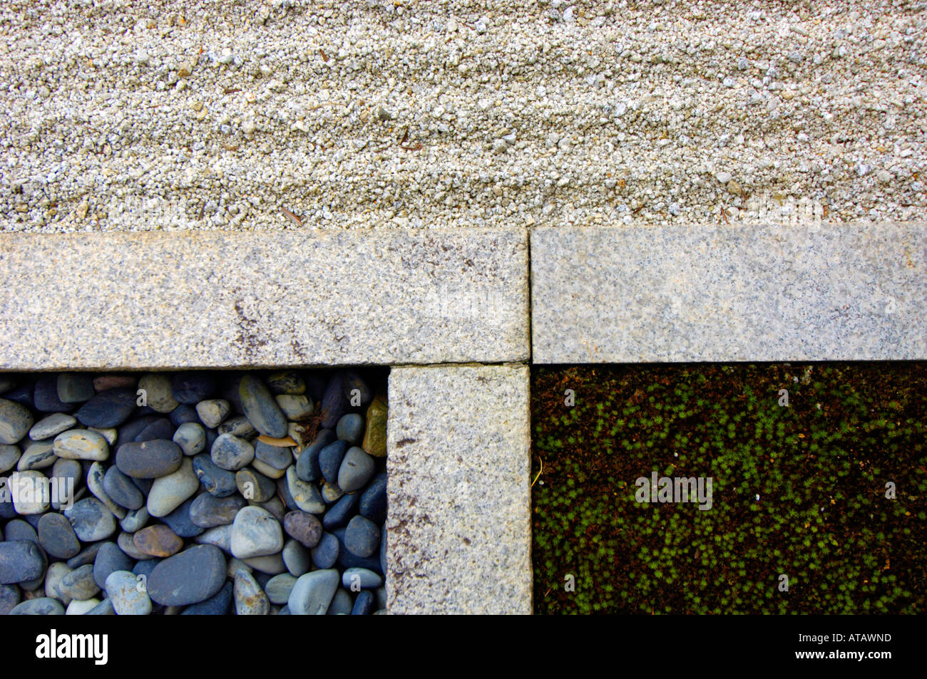 Junction of stone sand and moss in a rock garden at Ryogen In Zen Temple at the Daitoku ji Temple complex Kyoto Japan - Stock Image