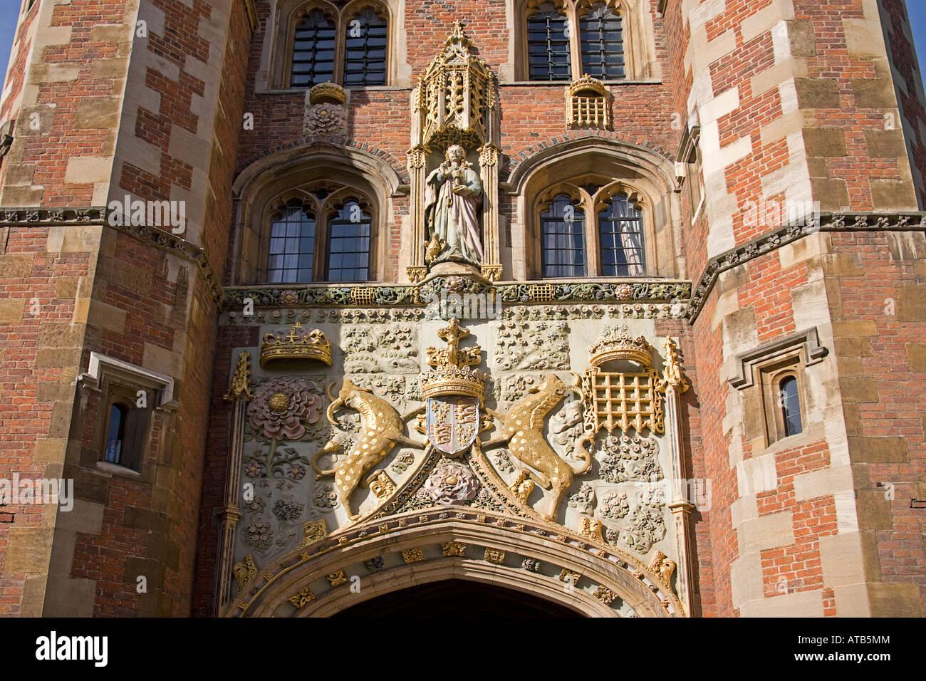St John's College- main gate decoration, Cambridge,Cambridgeshire. East Anglia. UK. - Stock Image