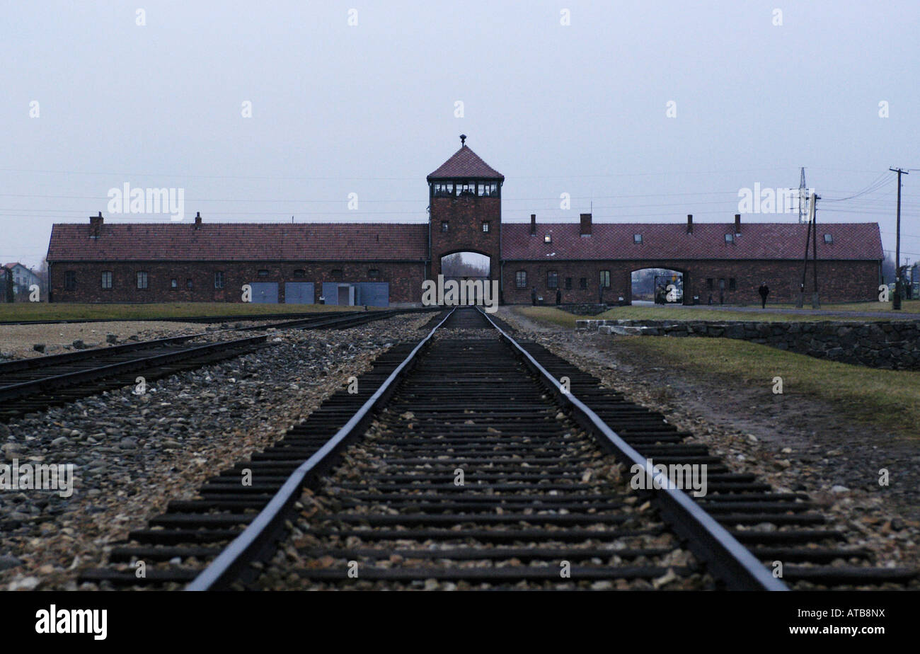 The Main Gate of Auschwitz II concentration camp, Poland - Stock Image