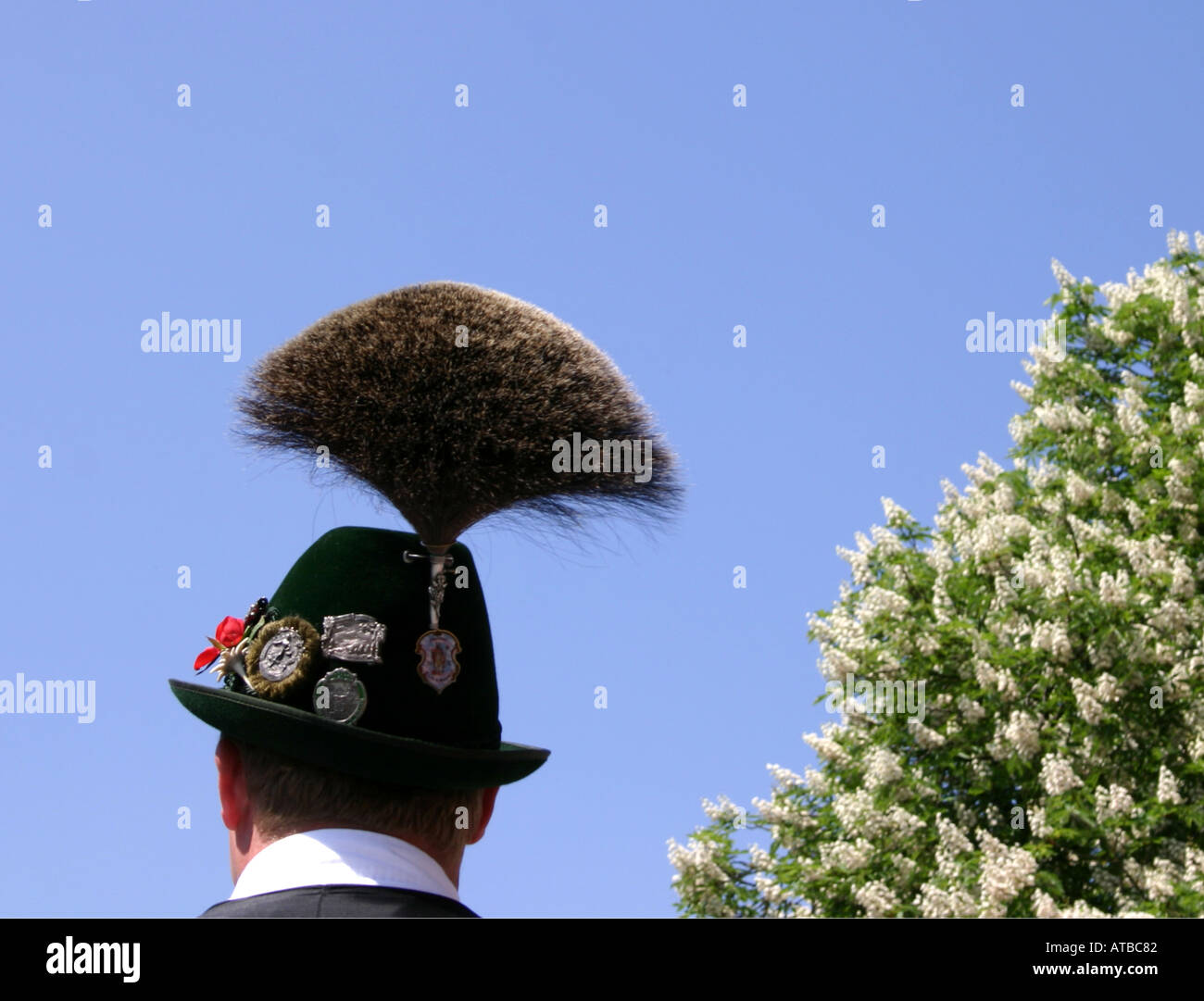Gamsbart Bavarian traditional hat with feather Munich Bavaria Germany - Stock Image