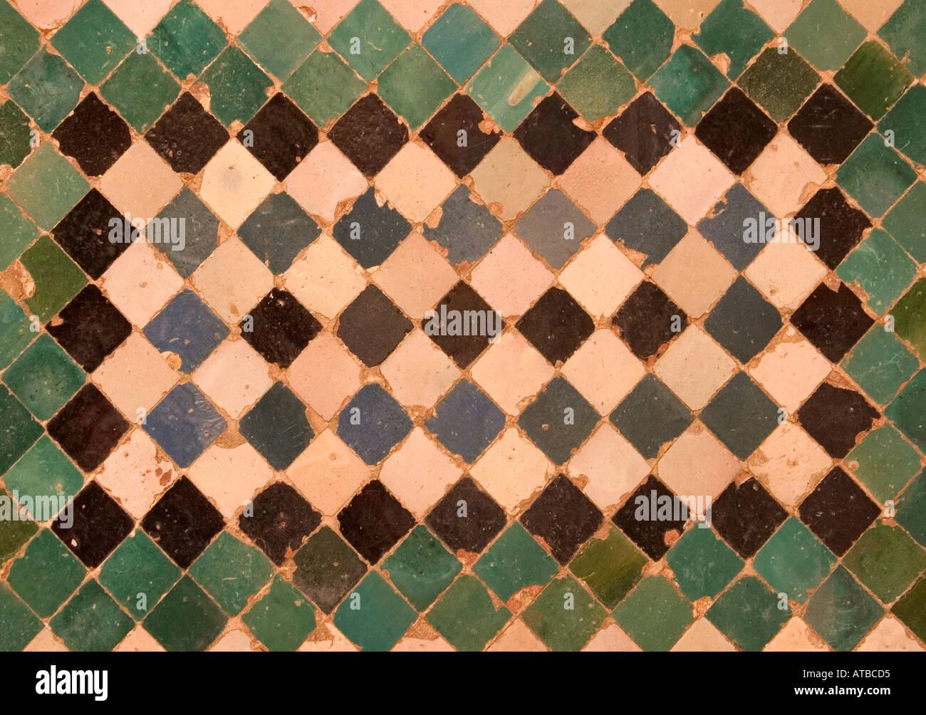 Granada Spain Decorative tiles in La Alhambra - Stock Image