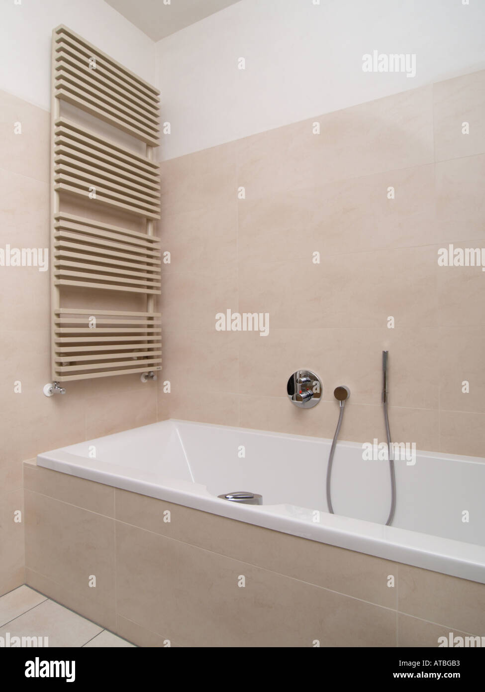 New modern style bathroom with design radiator heating and ...
