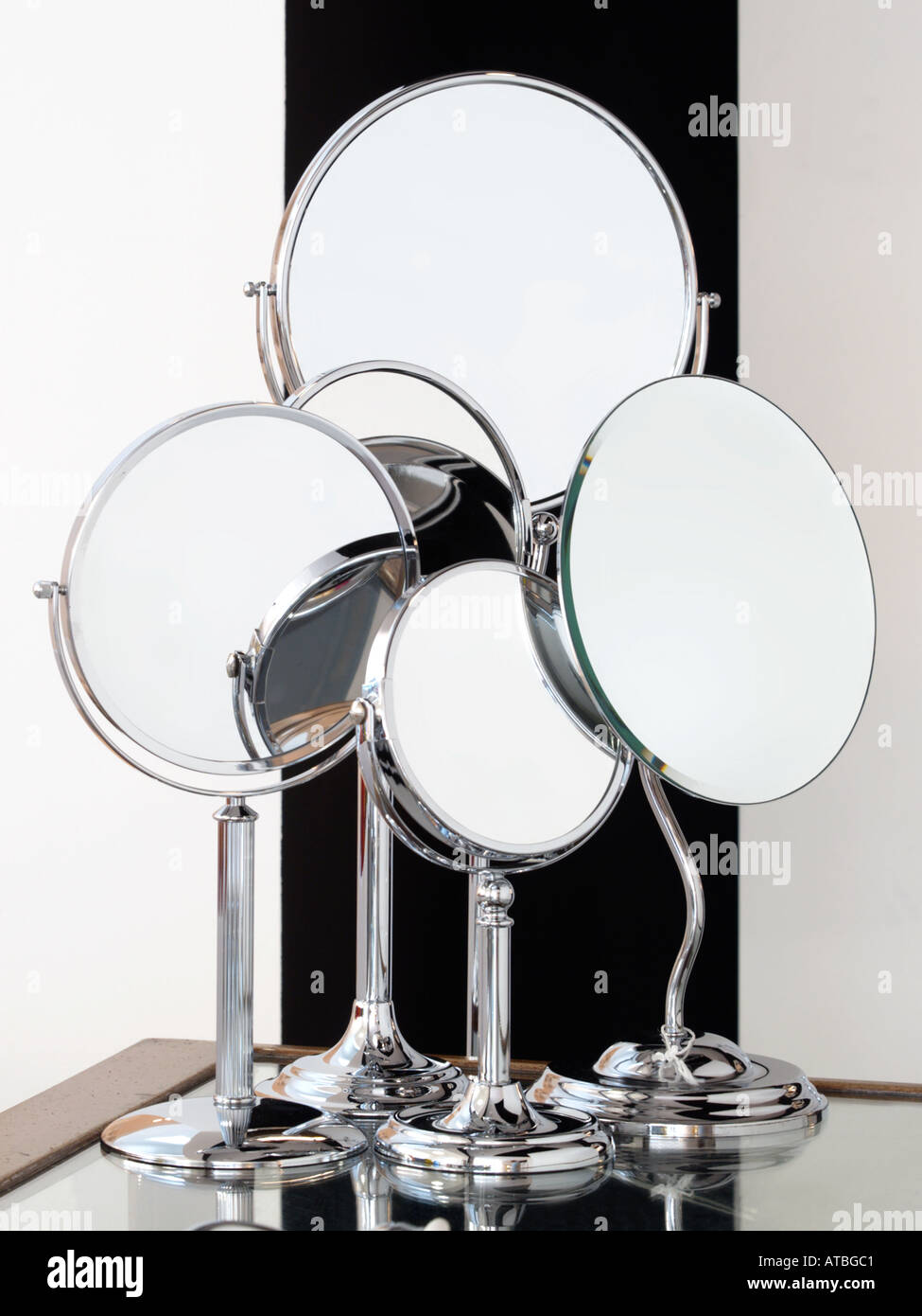 Classically styled round shaving mirrors - Stock Image