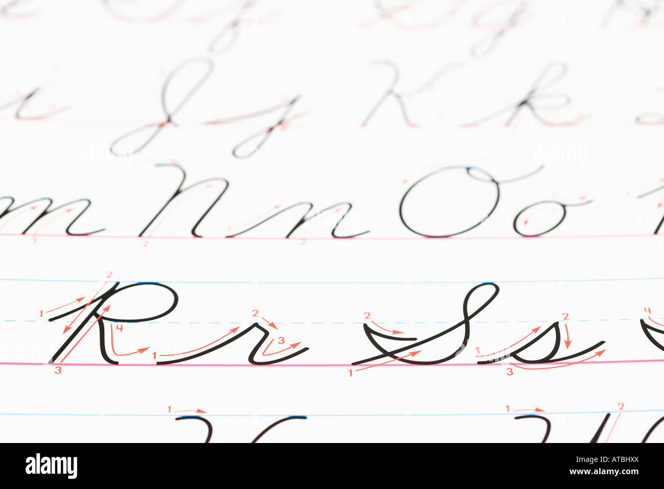 Close Up Of Cursive Handwriting Practice Page