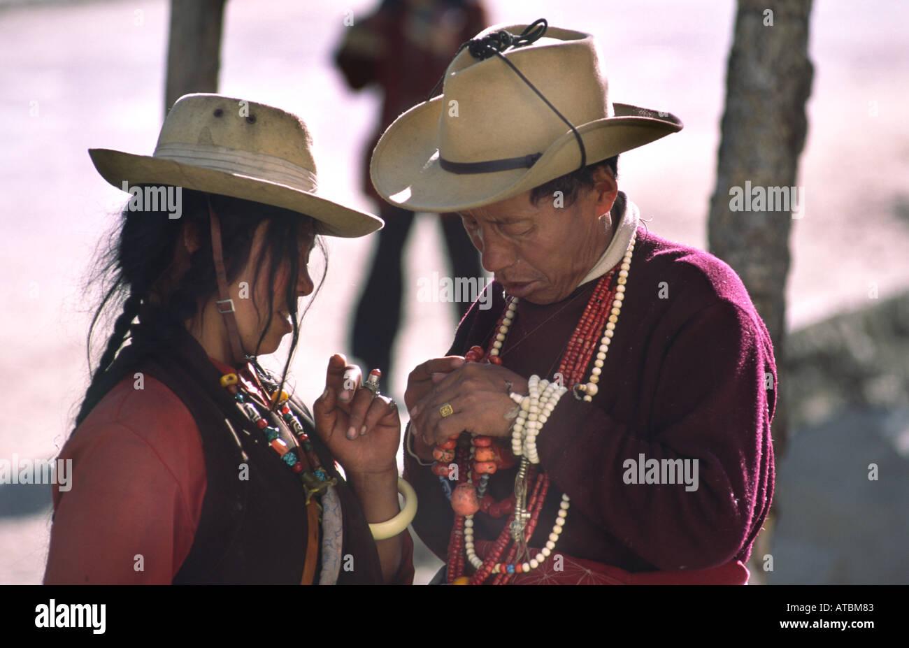 505a6ddfc Tibetan couple in Cowboy hats. Litang, Sichuan, China Stock Photo ...