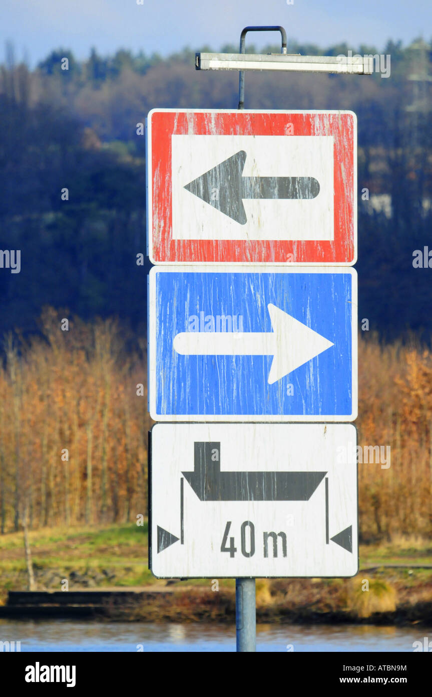 inland water trasport signs blau Stock Photo