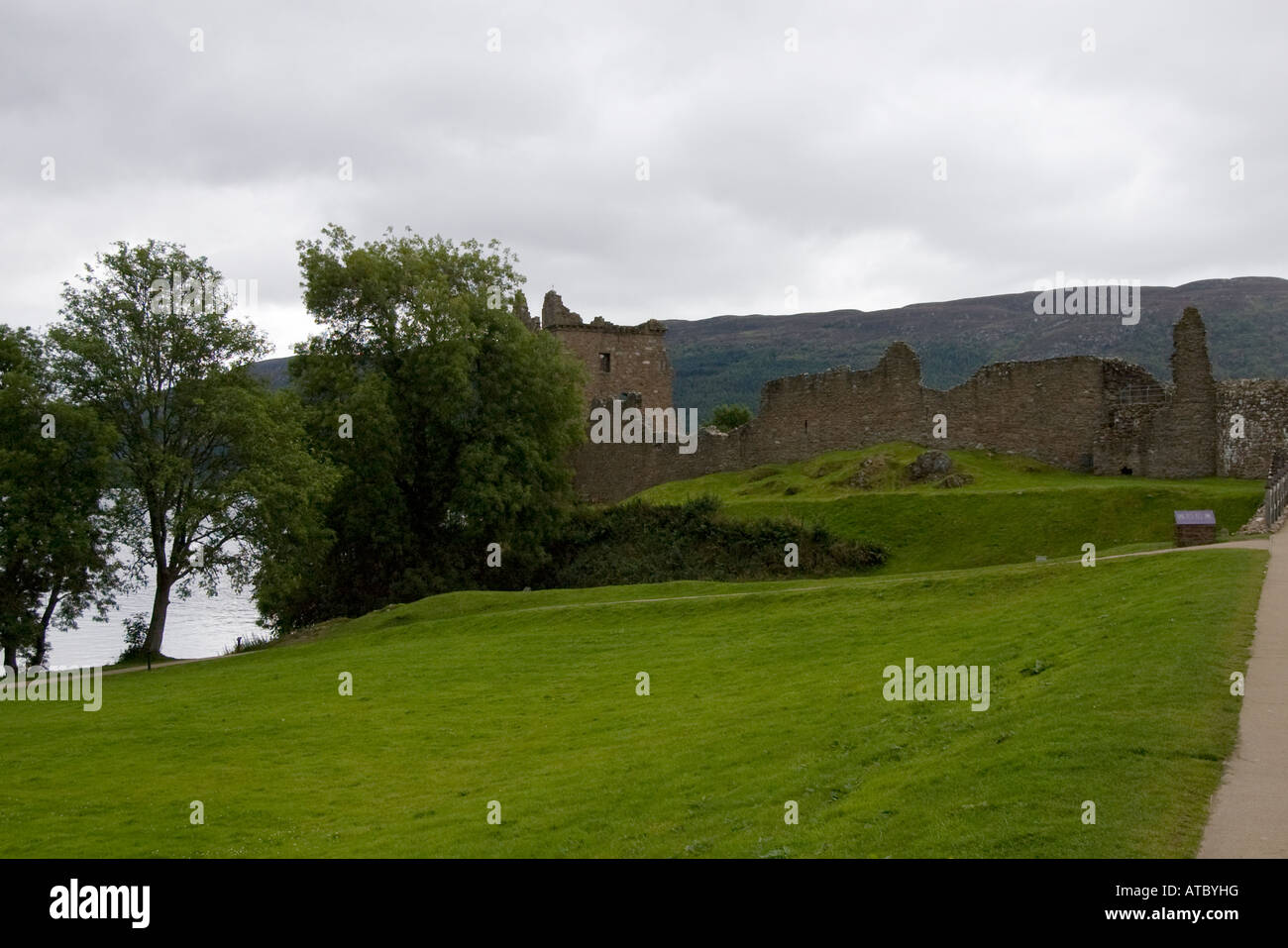 Picturesque Urquhart Castle, situated on Loch Ness, Scotland. - Stock Image