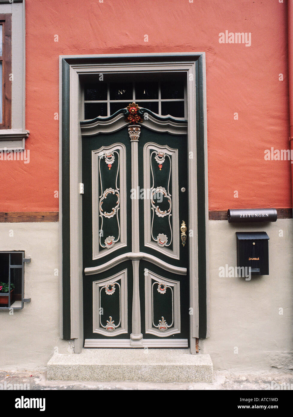 Art Deco Style Decoration On A Heavy Front Door Decorating The Facade Of A  Building In Erfurt