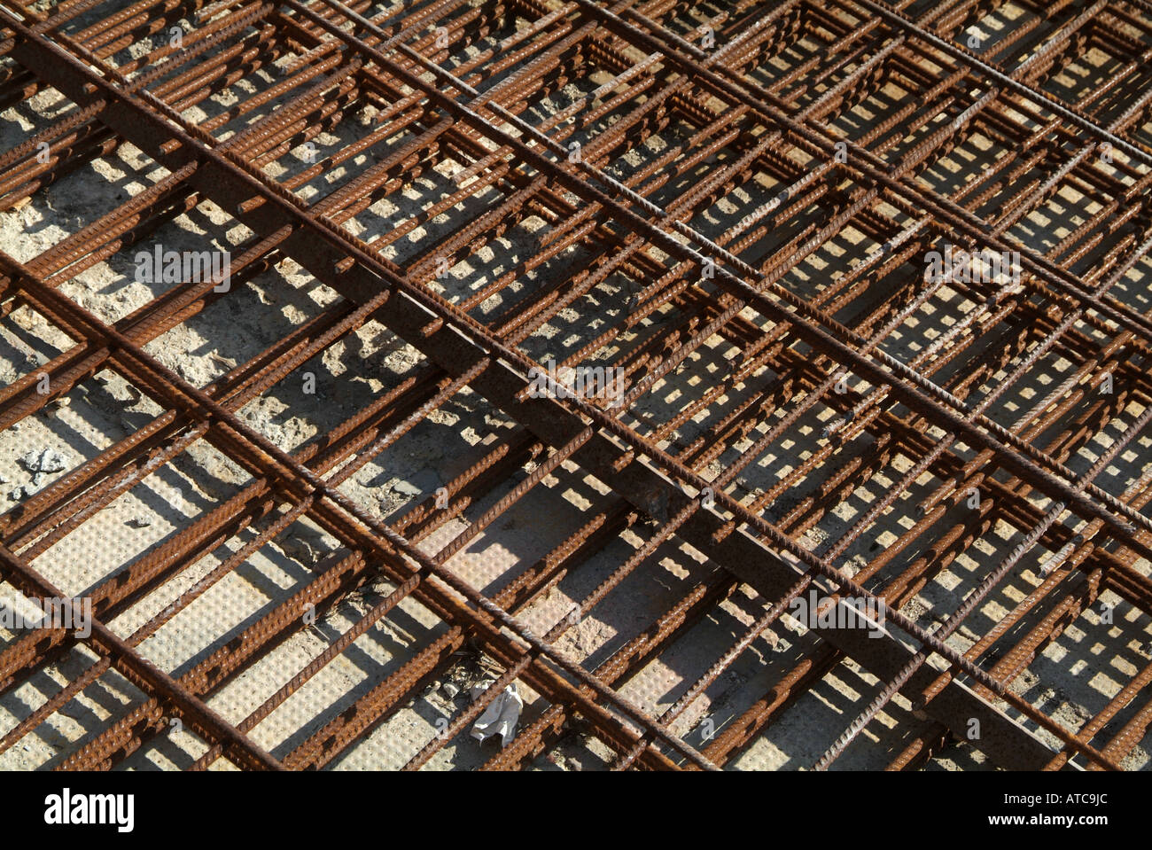 Steel, reinforcement, rebar, construction, concrete, slab, floor, building, build, reinforced - Stock Image