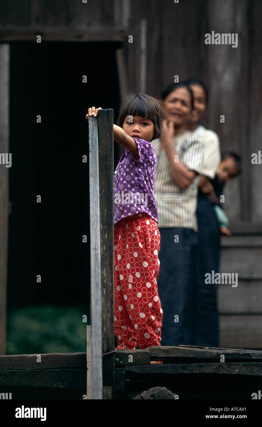 Montagnard the mountain dwellers of Central Vietnam minorities in the Tua villages near Buon Ma Thuot Stock Photo