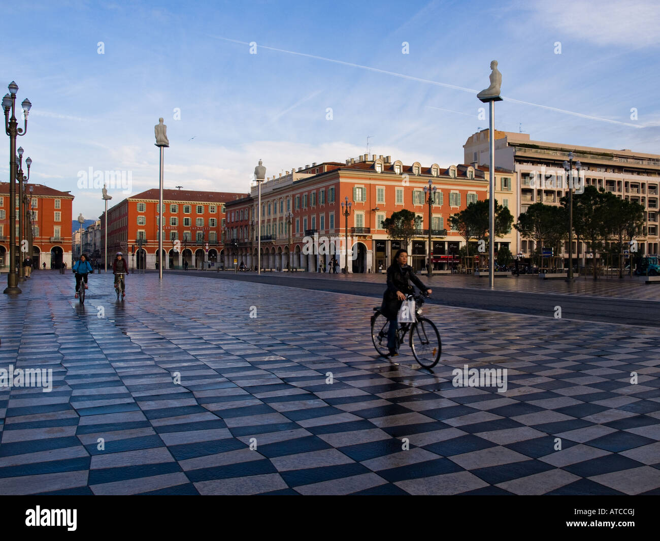 Cycling in Place Masséna in Nice, France. - Stock Image