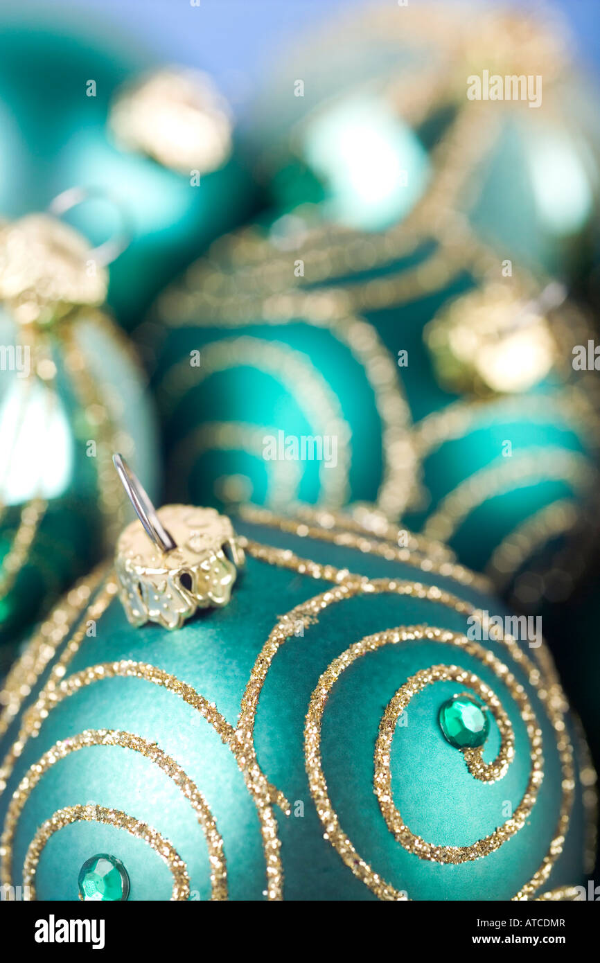 green and gold christmas decorations stock image