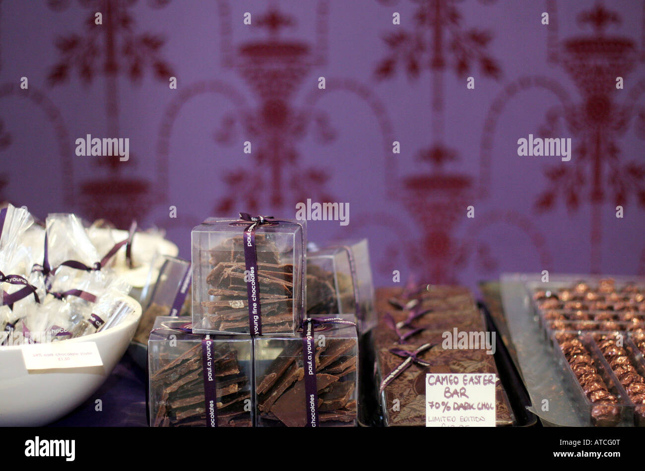 Selection of chocolate in Paul A Young Chocolatier shop Camden Passage Islington London UK - Stock Image