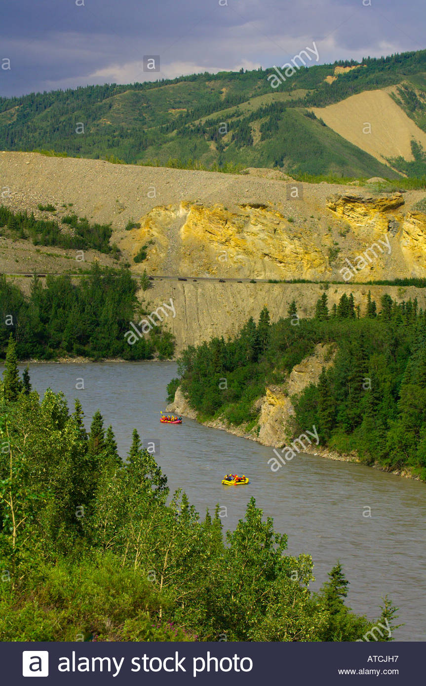 Whitewater rafting The Nenana River in Healy Canyon near Denali National Park Alaska - Stock Image