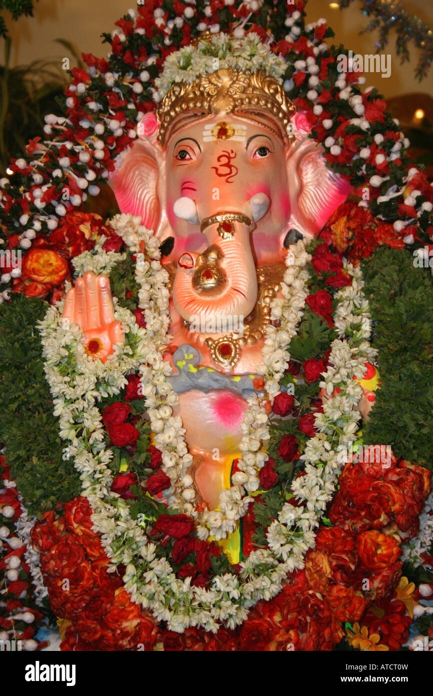 Lord Ganesha Decorated With Flowers And Pooja Items Ganesh Stock