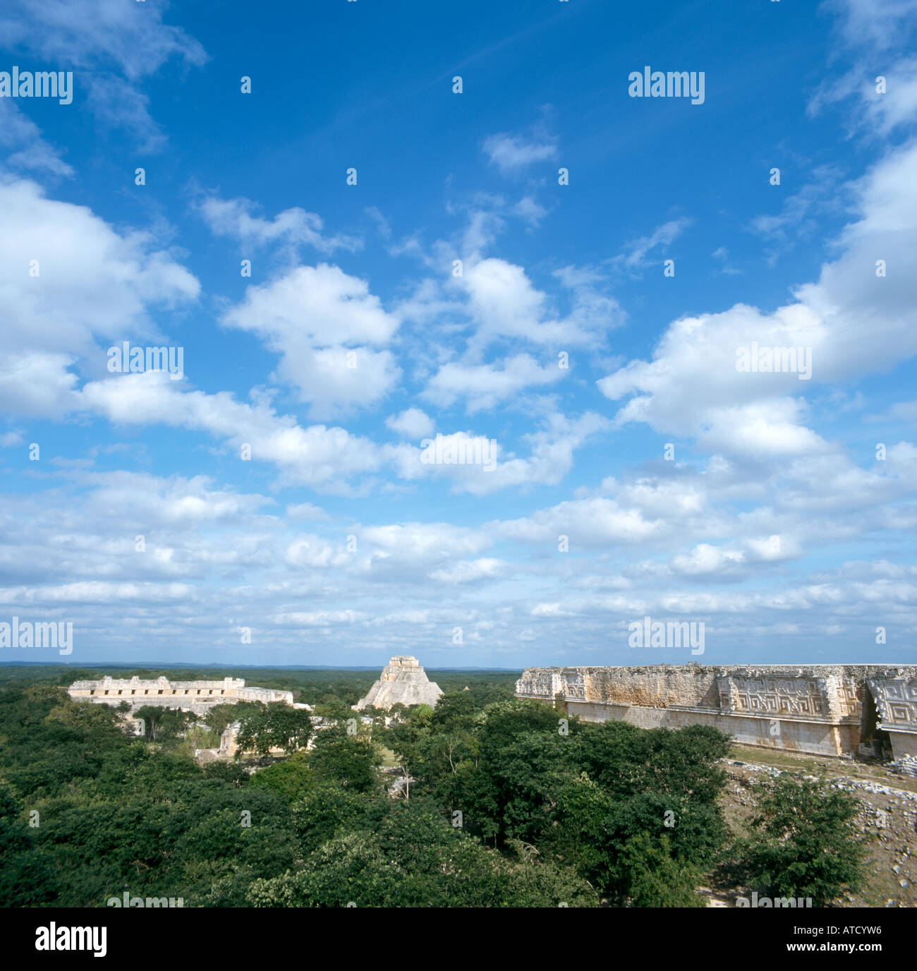 View from Great Pyramid at the Mayan Ruins of Uxmal, Yucatan Peninsula, Mexico - Stock Image